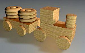 Abbildung: Ein Zug aus Holz